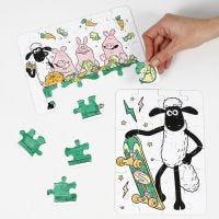 Un puzzle de La oveja Shaun decorado con rotuladores