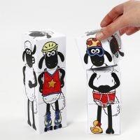 Bloques para apilar de La oveja Shaun decoradas con rotuladores