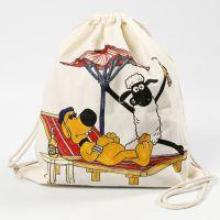 Una bolsa de cordón de la Oveja Shaun decorada con rotuladores textiles.