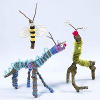 Animales e insectos hechos de ramitas, palos, lana y Sticky Base