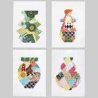 Diseños simétricos decorados con papel hecho a mano