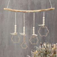 Jute wire hanging dDecoraciones colgantes de alambre de yute formadas alrededor de cortadores de forma