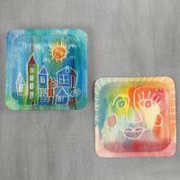 Cuadros en placas de madera con acuarelas y goma de dibujo