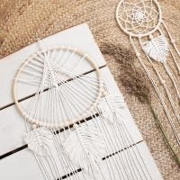 A homemade macramé dream catcher