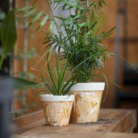 Una maceta para flor jaspeada de fibra de bambú.