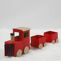 Un tren de Navidad de cartones de leche/jugo y cartón reciclado