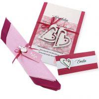 Invitación , porta nombre y decoración de servilleta en blanco y rosa