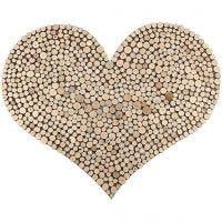Un corazón grande creado con mini discos de madera